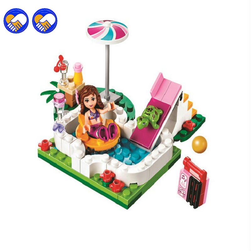 A toy A dream BELA 10542 Girl Series Summer swimming pool vacations Girl Friends Building Blocks Bricks Toys a toy a dream 2016 new bela 10537 203pcs friends vet clinic model building kits blocks bricks girl toys gift 41085 lepin