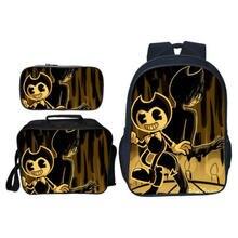 Купить с кэшбэком New Set Bendy and The Ink the hedgehog boys School Bag Kid Backpack Zipper Backpacks School Bag Teenager Book pencil bags