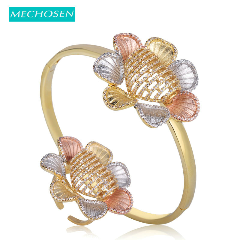 MECHOSEN Difficult Craft Flower Shape Jewelry Sets Bangle Ring 3 Tones Brass Cubic Zirconia Celebrity Hand Accessories Riverdale