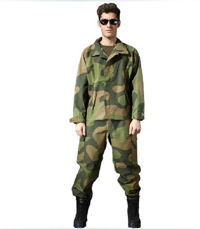 Norwegian special forces men in camouflage combat suit CS fans armed with training uniform