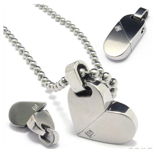 Min.order is $15 (mix order) Free Shipping 316l Stainless Steel  Heart Can Transform Pendant 079967