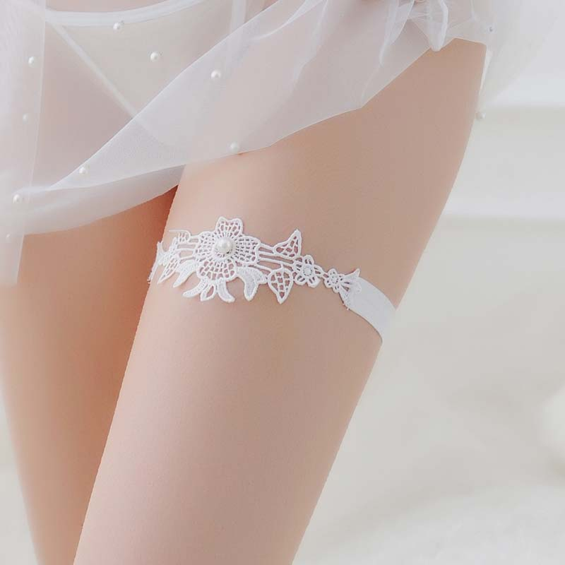 Sexy Women Lace Garter Belts Round pearls Decorate Wedding Bridal Party Pub Club Evening Girl Neck or Leg Rings Loops Maid Thigh in Garters from Underwear Sleepwears