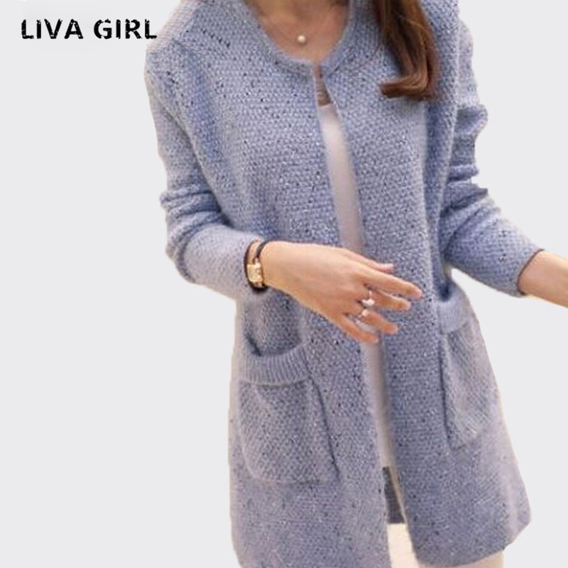 Liva Girl Long Sleeve Knitted Cardigans Women Autumn Winter Casual 2017 Crochet Ladies Sweaters Fashion Tricotado Tops