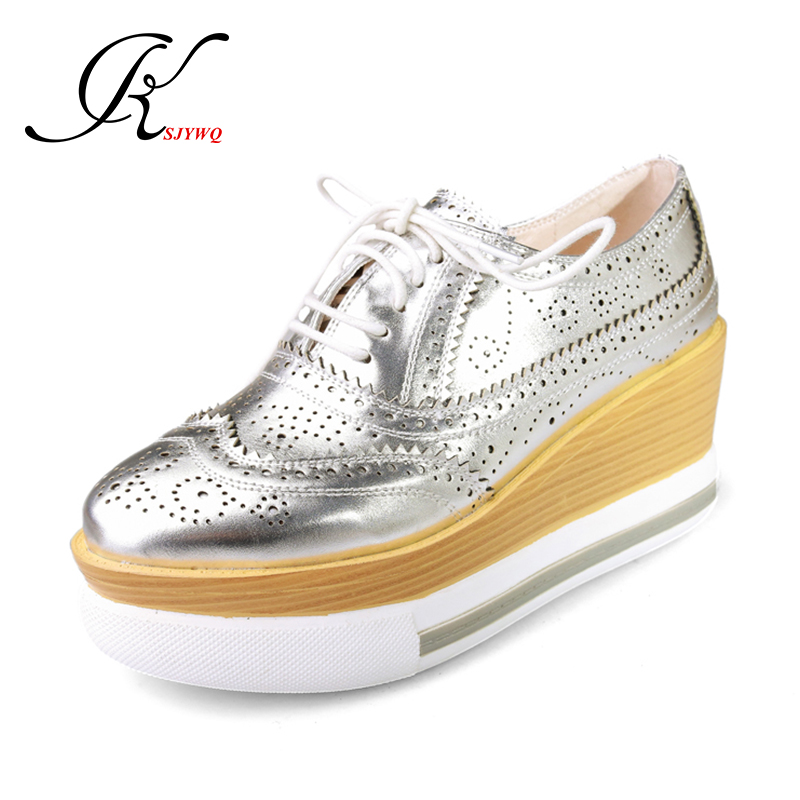 2017 Large Women Brogue Shoes Lace-up Wedges 7.5 CM High Heels Casual Platform Shoes Woman Plus Size 42 Loafers Box Packing W72 new trifle casual shoes women platform women shoes platforms full grain leather womens loafers cut outs wedges shoes large size