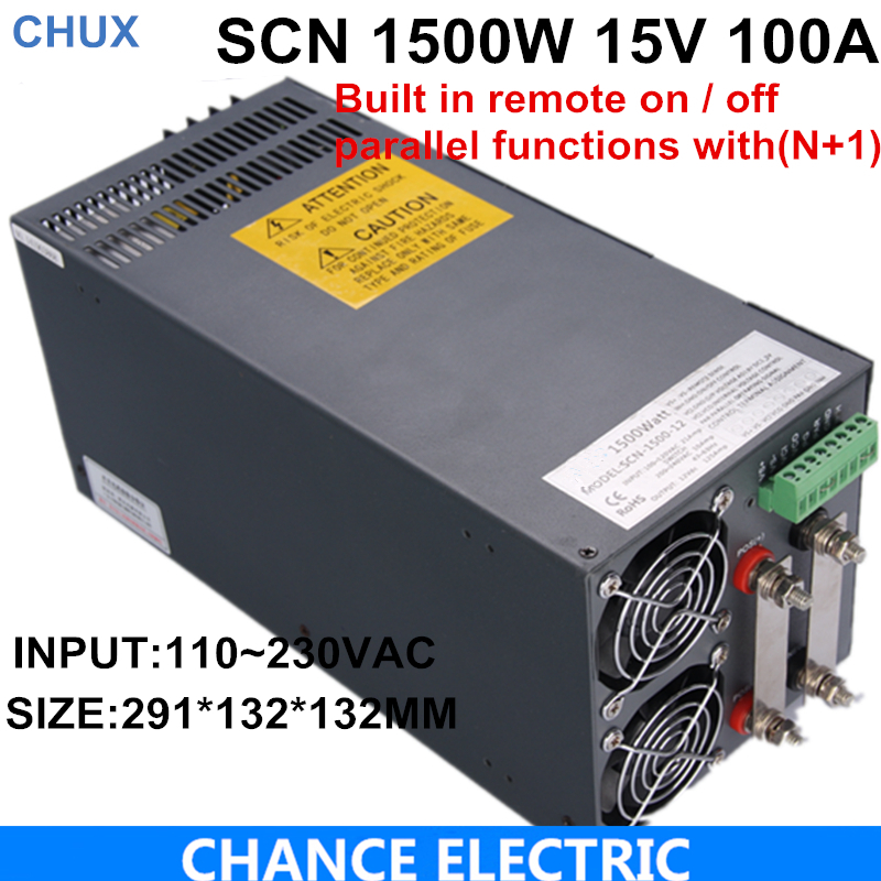 Ce Cetified 15v 100A Switching Power Supply 1500w for cnc cctv led light SCN-1500-15 4pcs 12v 1a cctv system power dc switch power supply adapter for cctv system