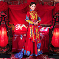 Red Embroidery Phoenix Cheongsam wedding dress For Overseas Chinese Women Vestido Oriental Collar Sexy Long Qi Pao Party Show