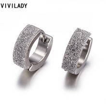 VIVILADY Classic Small Bling Round Chic Hoop Earrings Female Girl Gifts Bijoux Fashion Stainless Steel Jewelry Bijoux Accessory(China)