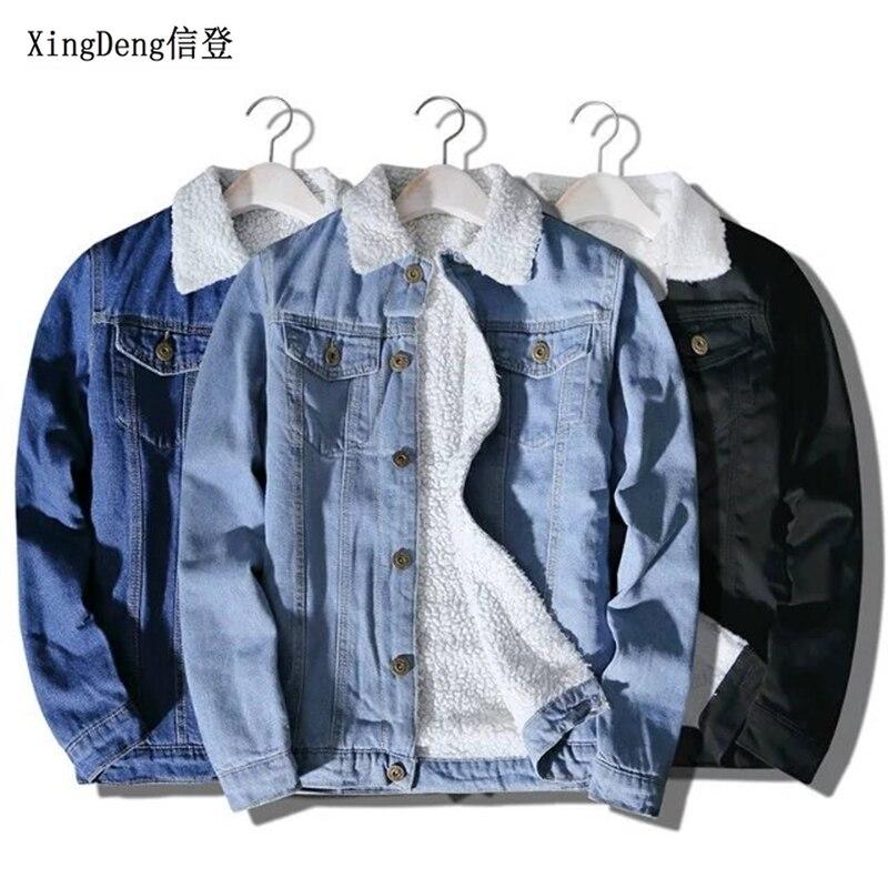 XingDeng 2020 Men Winter Fashion Cowboy Jacket Trendy Warm Fleece Denim Jacket top Coat Mens Jean