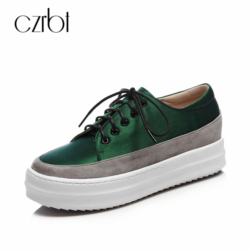 CZRBT 2018 Spring Autumn Women Falt Platform Shoes Round Toe Lace-Up Handmade Shoes Shallow Casual Kid Suede Female Shoes hizcinth 2018 spring women shoes shallow lace up square toe single shoes woman geometric stars casual flats platform shoes