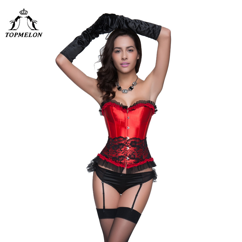 TOPMELON   Corsets   and   Bustiers   Sexy   Corset   Women Steampunk   Bustier   Gothic Corselet Lace Floral Club Shows Party   Corset   Tops