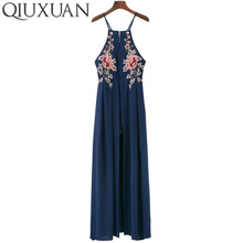 Female Floral Embroidery Dress Sexy Hanging Neck Halter Backless Bandage High Split Slim Long Dress Women Dress Clothes