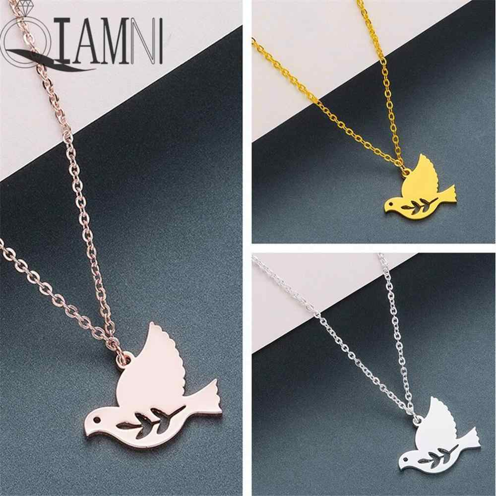 QIAMNI Minimalist Olive Branch Dove Bird Pendant Necklace Women Animal Peace Pigeons Necklace Jewelry Lovers Gift Birthday Charm