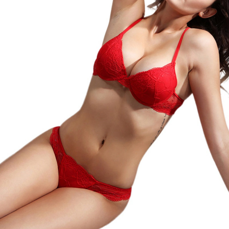 Cotton Push Up   Bra   Absolute luxury lace Sexy Red Wine Under The Thin Thick Underwear   Bra   Suit The Underwear is Female