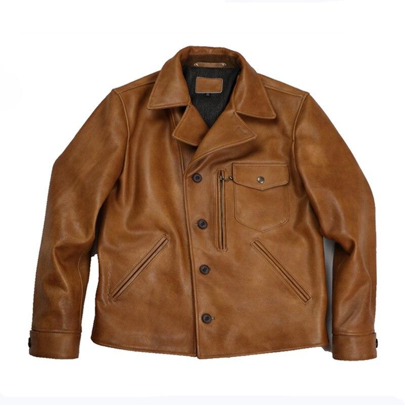 Jacket Natural-Coat Brown Genuine-Cowhide-Spring XXXL American Casual Slim Plus-Size