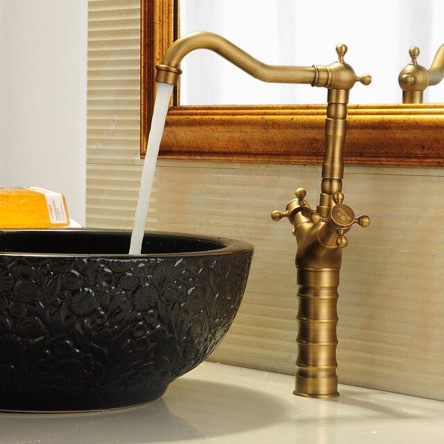 Bathroom vintage bronze Brushed sink basin faucet Deck Mounted brass