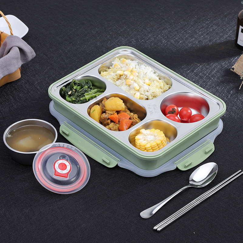 5 Gird Lunch Box Containers With Compartments Portable 304 Stainless Steel Lunch Box For Kids Give Soup Bowl title=