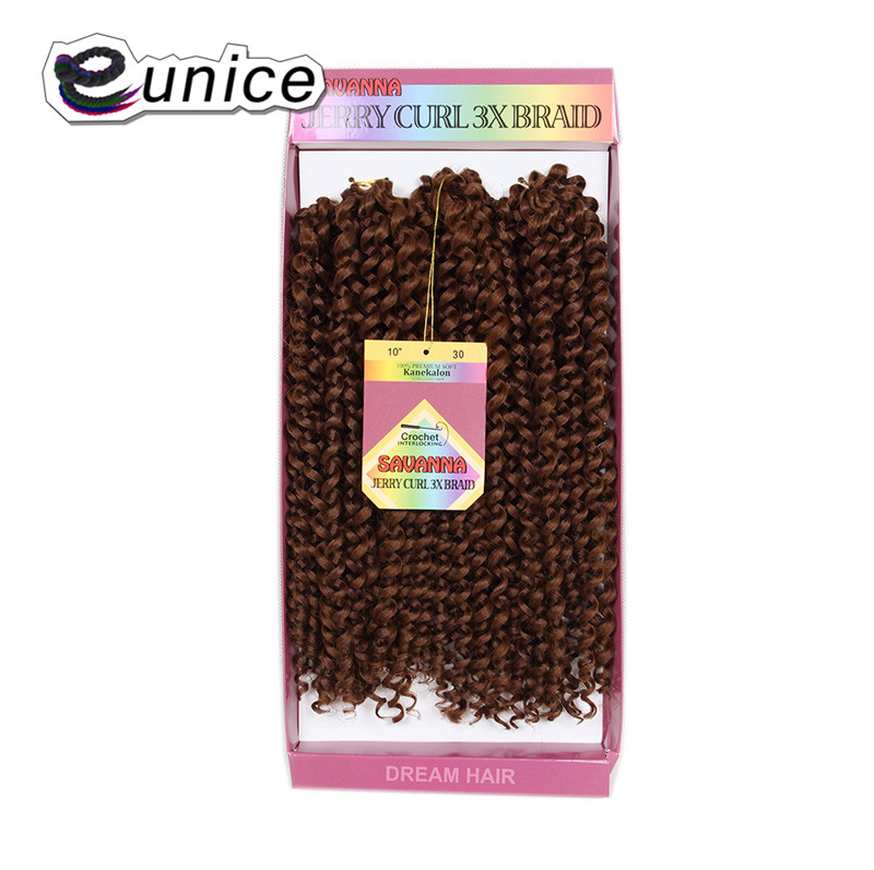 Eunice 10Short Crochet Hair Extensions Kinky Curly 3X Braids Synthetic Braiding Hairstyle 100% Premium HAIR 2lots for Full Head