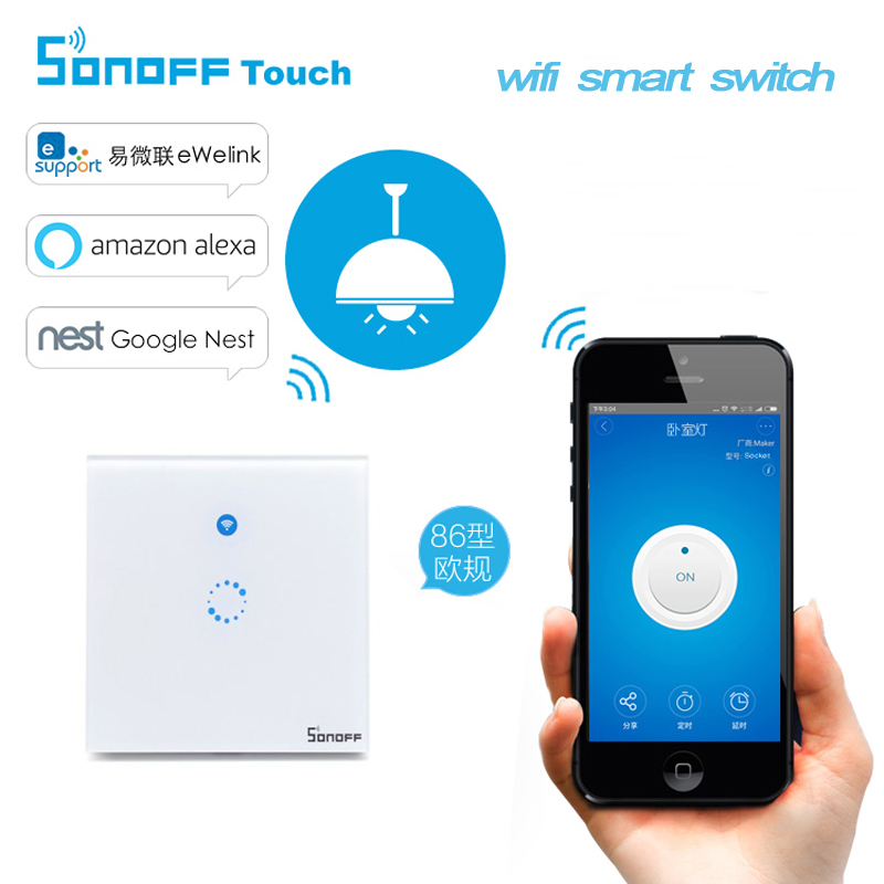 Sonoff EU WiFi Wall Touch Light Switch 1 gang ON/Off Schedule/Countdown Timing Switch IOS Android Remote Anywhere at Any Time
