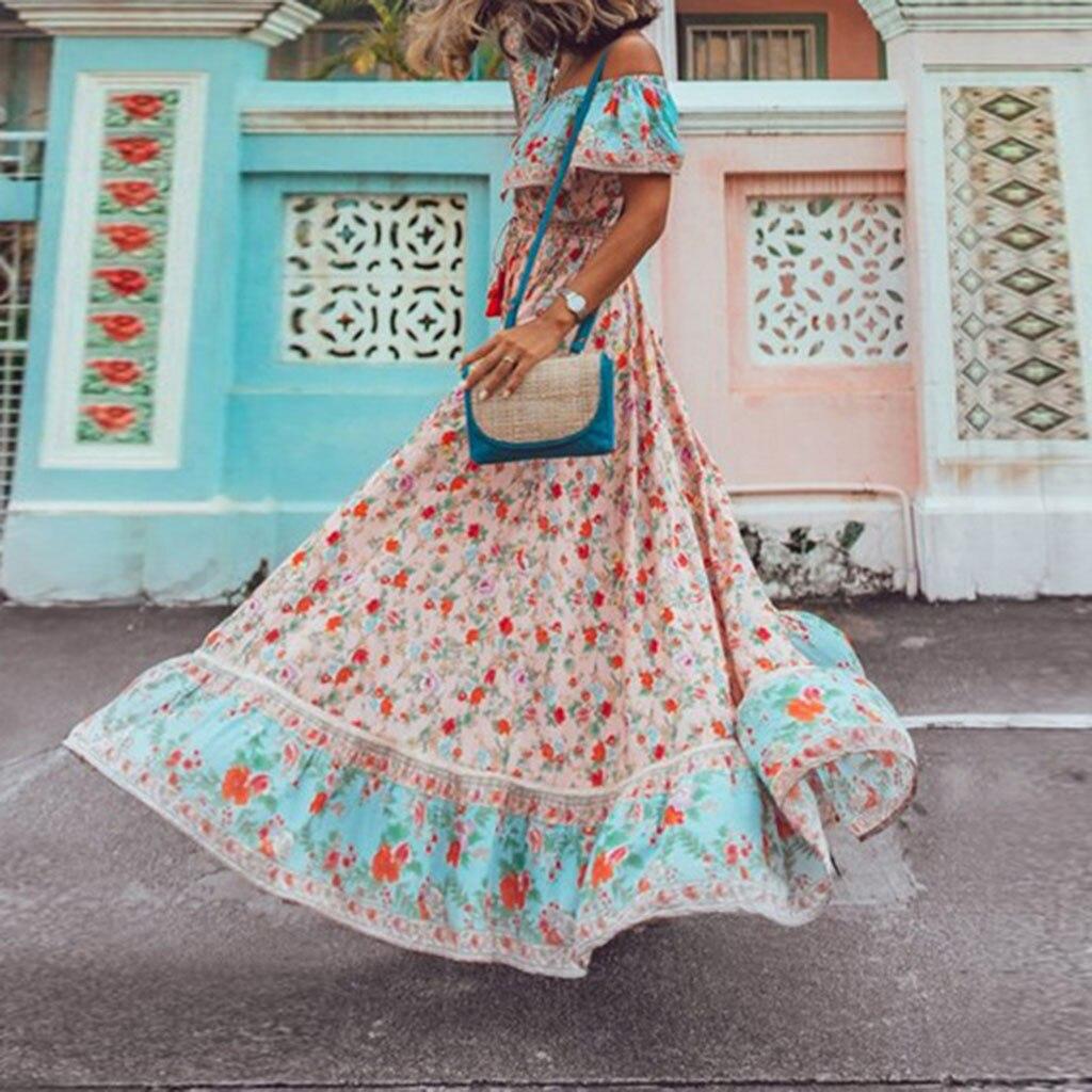 Summer Bohemian Ruffle Dresses Woman Party Night Casual Loose Elegent Country style Chiffon Long Beach Off Shoulder Dress|Dresses| - AliExpress