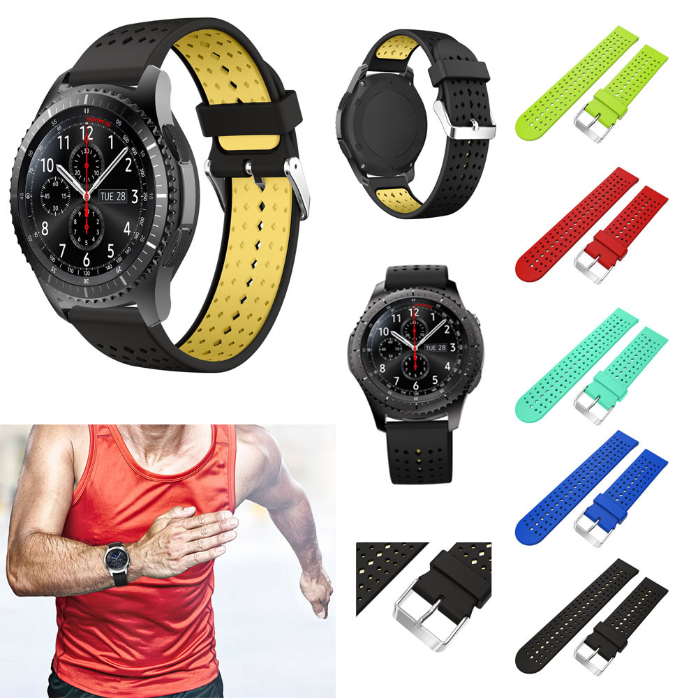 22MM Watch Strap Sport Silicone Replacement Wristband Wrist Strap For Samsung Gear S3 Frontier crested silicone strap for samsung gear s3 frontier rubber smart watch wristband