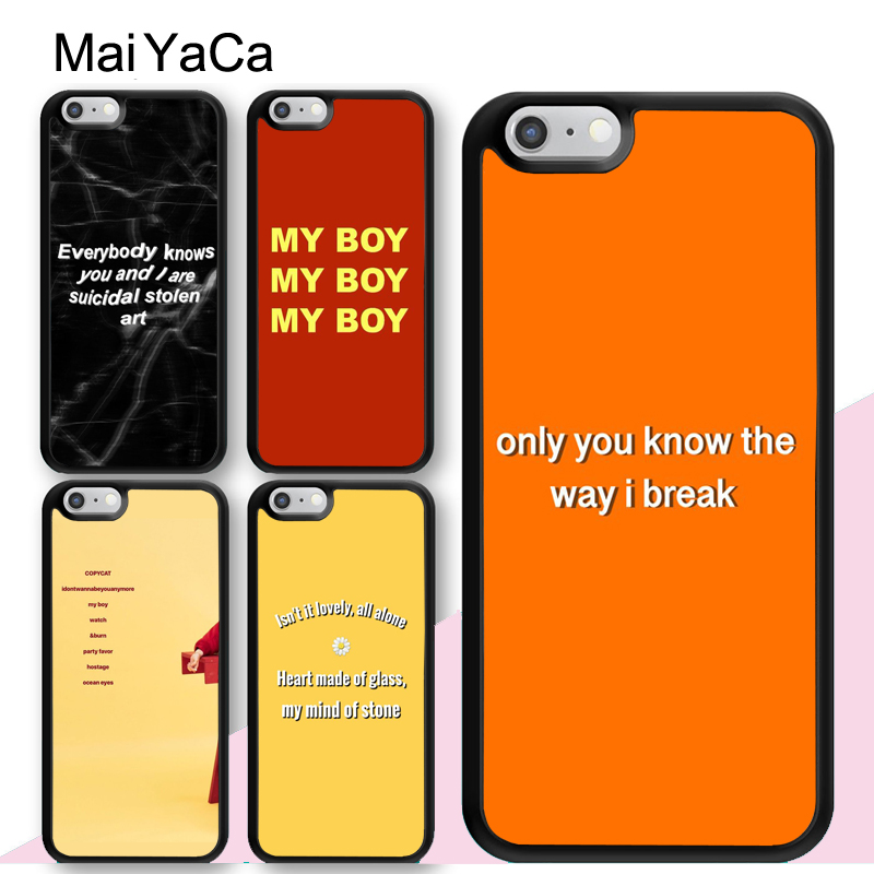 reputable site 40af7 2656c US $2.88 5% OFF|MaiYaCa Song Lyrics Billie Eilish Aesthetic Soft Rubber  Mobile Phone Cases Bags For iPhone 6S 7 8 Plus XS Max XR 5 SE Back Cover-in  ...