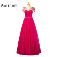 Real Photo Hot Pink Long Prom Dress Short Sleeve Transparent Back Beaded Tulle With Bow Fashion