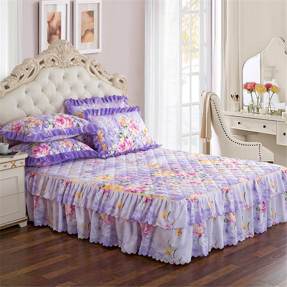5 Color Wholesale 150*200cm bed skirt set thicken bed cover sheets bed quilted bedspread pastoral flower bed sheet  Freeship