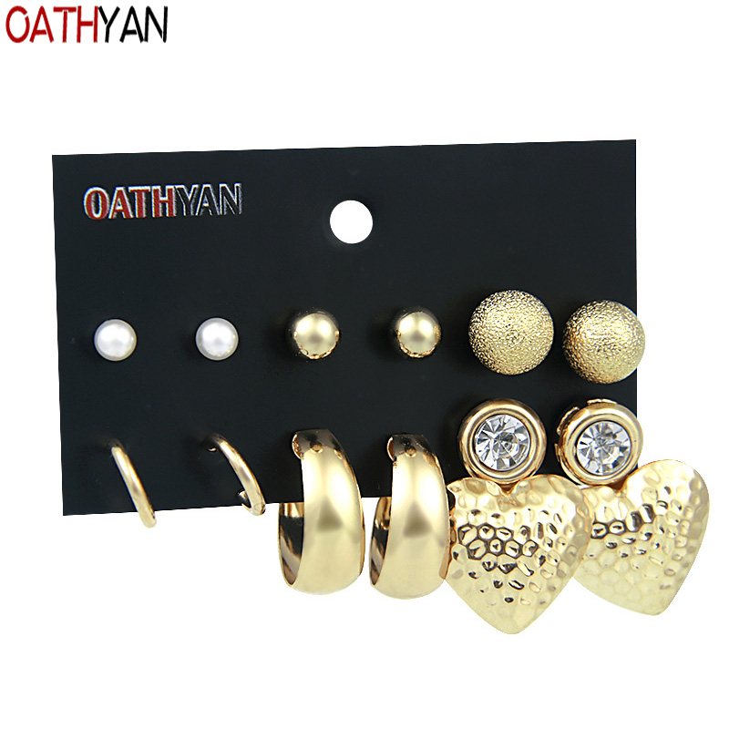 Earrings Oathyan 6 Pairs/set Trendy Gold Color Alloy Big Heart Earrings Sets Ball Round Circle Stud Earring For Women Minimalist Jewelry