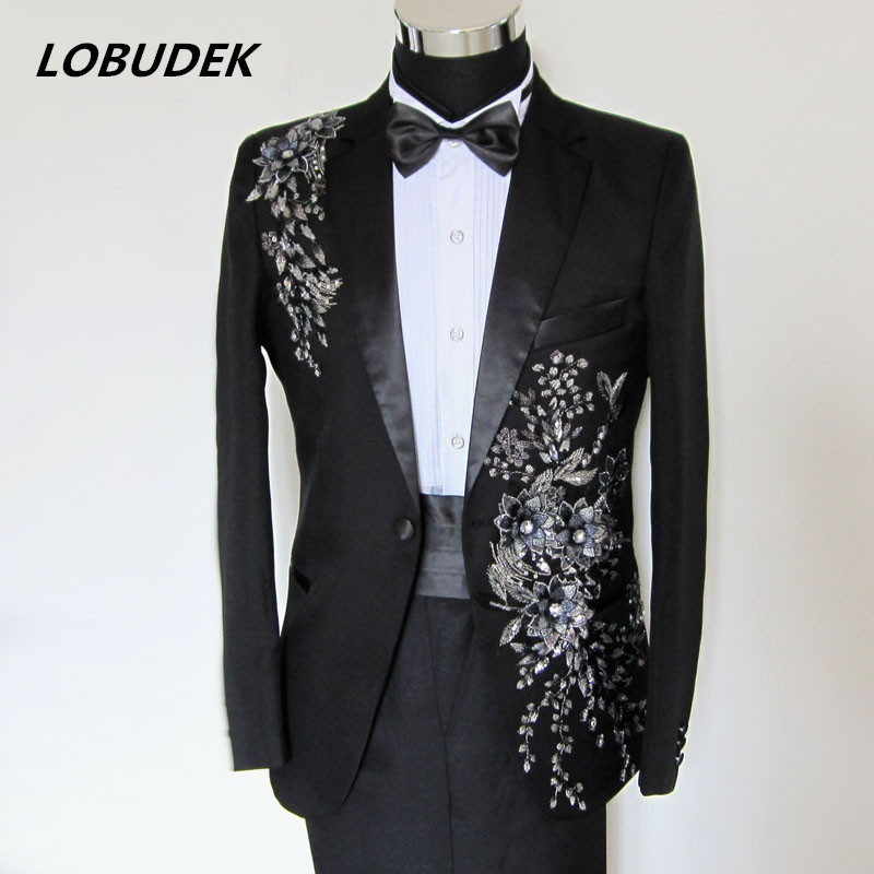 Paillette Suits Sequins Slim Suit Male Formal Dress Costume Clothes Singer Compere Toastmaster Stars Show Party Formal Dress