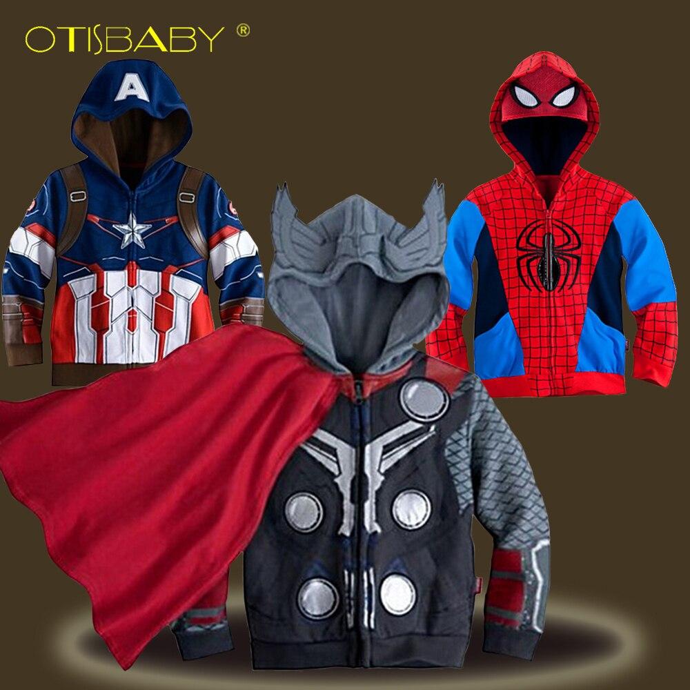 Одежда для мальчиков Дети Капитан Америка пиджак верхняя одежда дети Халк зимняя куртка Обувь для мальчиков Бэтмен Человек-паук одежда под...