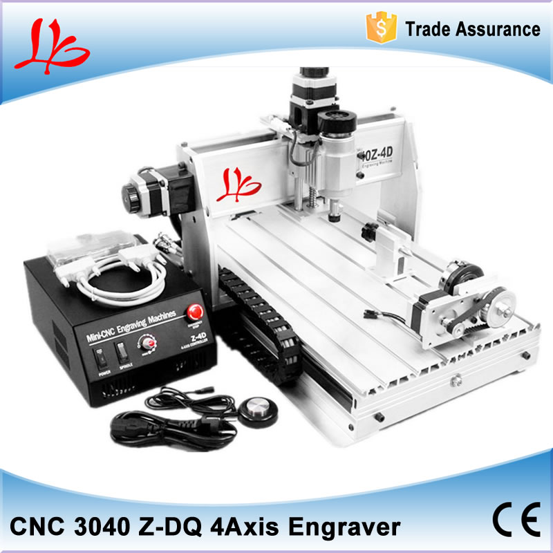 3d cnc engraving machine cnc 3040 with 4th axis (Rotation axis),ball screw design desktop milling machine