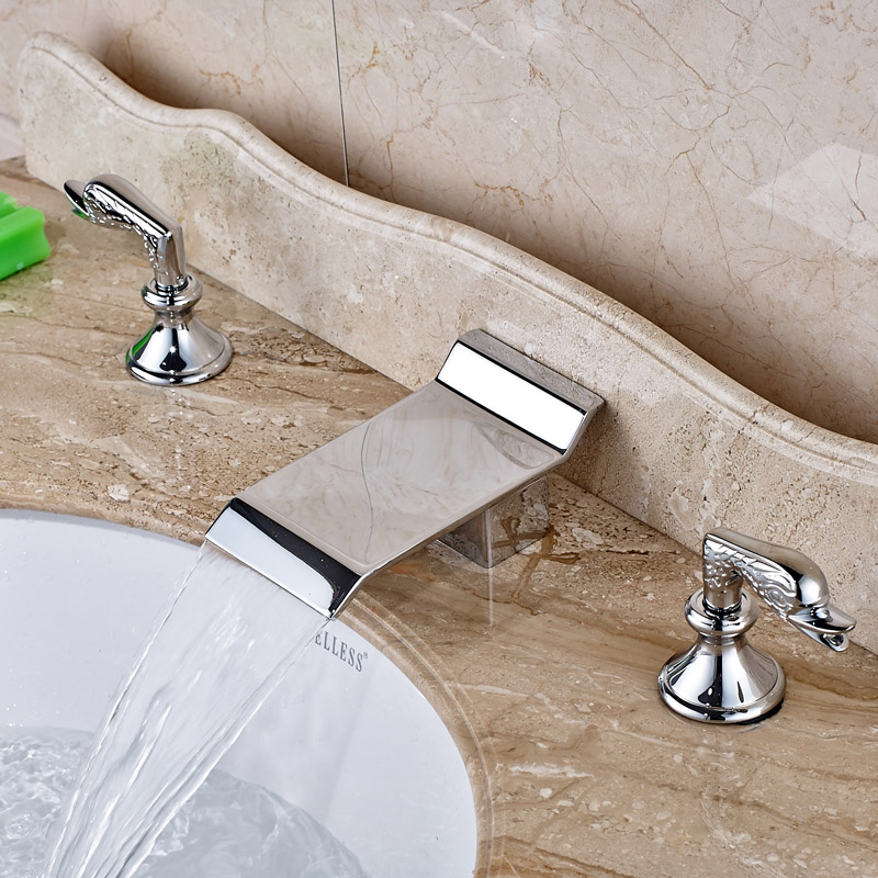 New Design Brass Chrome Bathroom Washing Basin Faucet 2 Handles 3 Holes Lavatory Sink Faucet