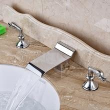 Новый Дизайн Латунь Хромированная Ванной Стиральная Бассейна Кран 2 Ручки 3 Отверстия Санузел Раковина Кран