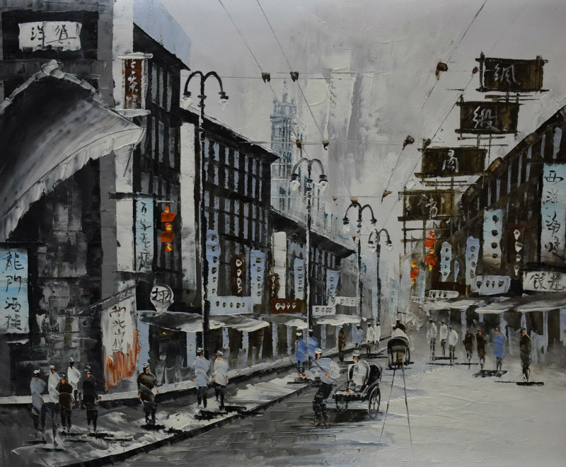 Hand Painted Canvas font b Knife b font Abstract Oil Painting White and Black Shanghai Trams