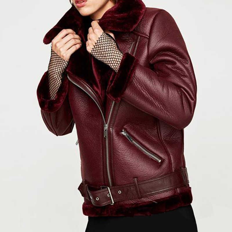 FTLZZ 2019 חדש חורף נשים כבש מעילים לעבות פו עור פרווה נשי מעיל פרווה בטנת עור מעיל טייס מעיל