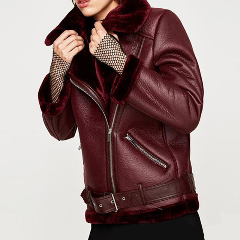FTLZZ 2020 nouveau hiver femmes en peau de mouton manteaux épaissir Faux cuir fourrure femme manteau fourrure doublure en cuir veste aviateur veste - 2