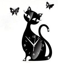 Butterfly Cute Cat Mirror Black Wall Clock Modern Design Effect Wall Sticker Watch For Home Decor Wall Decorative Clocks 9J18
