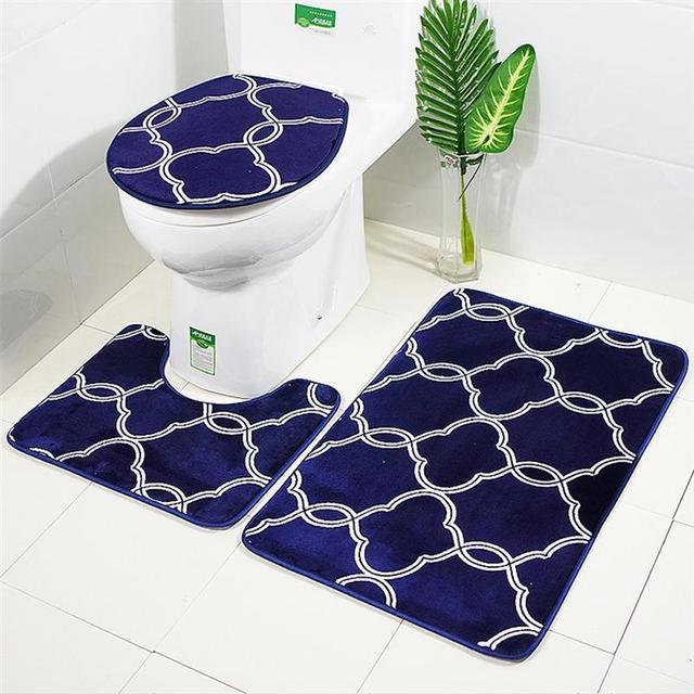 3 in 1 Lantern Pattern Bathroom Mat Set Antiskid Washroom Carpet Contour Mat Toilet Seat Lid Cover