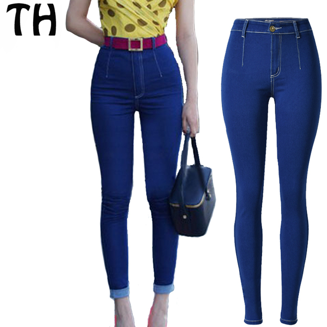 2016 Slim Fit Elastic Skinny Jeans For Women High Waist Jeans Femme  Pantalons Mujer Taille Haute 22047f2badab