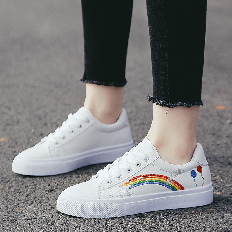 New Embroidered Designer Women White Shoes 2019 Spring Female Platform Sneakers Feminino Casual Female Shoes