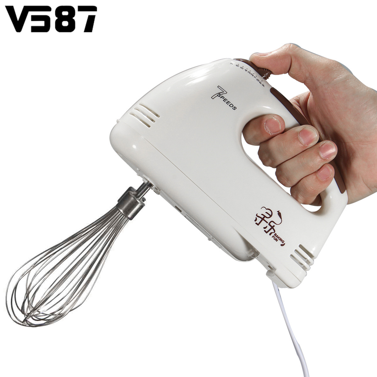 7 Speed Handheld Electric Food Blender Double Whisk Eggs Mixer ...