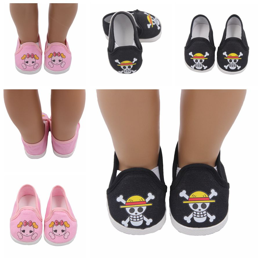 Pink Black Pirate 18 inch American Doll Shoes Mini Toy for 43cm Cute Born Baby Accessories