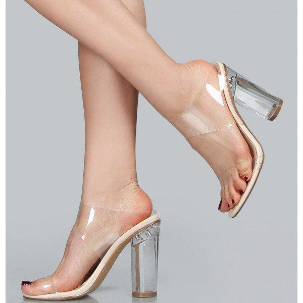 de95b81c29b Summer Sexy Transparent Women's PVC Designer Shoes Clear Crystal Heels High  Slipper Open Toe Mule Comfortable Chunky Sandals FSJ