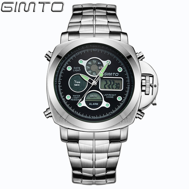 GIMTO brand men sports watches dual display analog digital LED Electronic quartz watches waterproof swimming watch