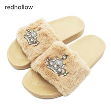 Slippers Womens Zapatos Mujer Slip on Sliders Crystal Fashion Fluffy Faux Fur Flat New Female Casual Slipper Winter with