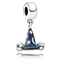 Spring 2015 New 925 Sterling Silver Cartoon Scrcerer Hat Dangle Charms With Enamel Fits European Diy