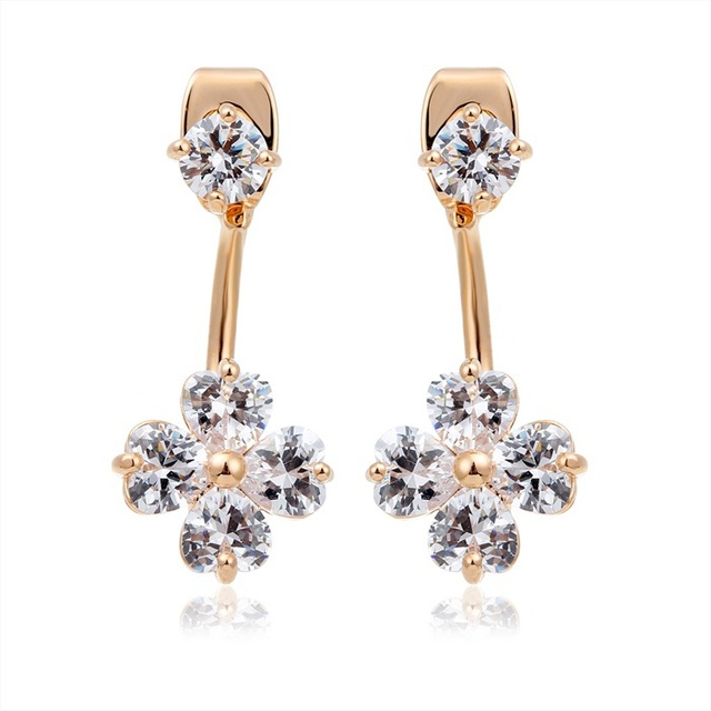 4237113e4 Ear Jacket Gold Plated Front Back Double Sided Four Leaves Clover CZ  Crystal Swing Stud Earrings For Women Hot Jewelry Girls