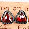 925 серебряный ретро Jiashun уха клип уха клип тип Рубин Гранат серьги серьги женской моды треугольник