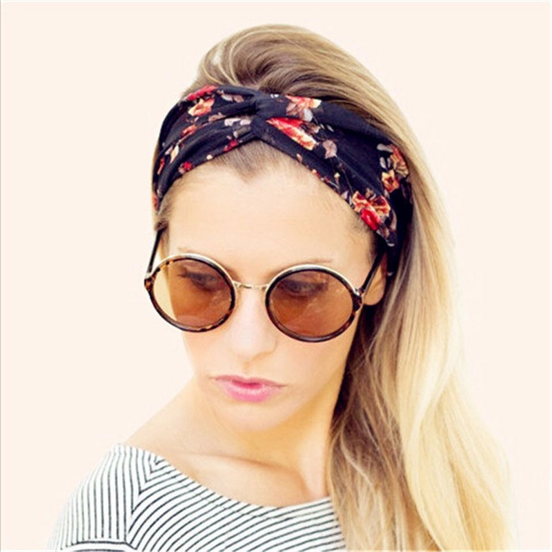 1pcs Retro Women Styling Braid Elastic Ring Turban Twisted Knotted Floral Wide Stretch Hairdressing Tools Girl Hair Accessories