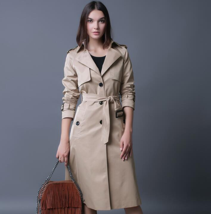Beige Fashion Slim Sexy Trench Coat Women Medium Long -5925